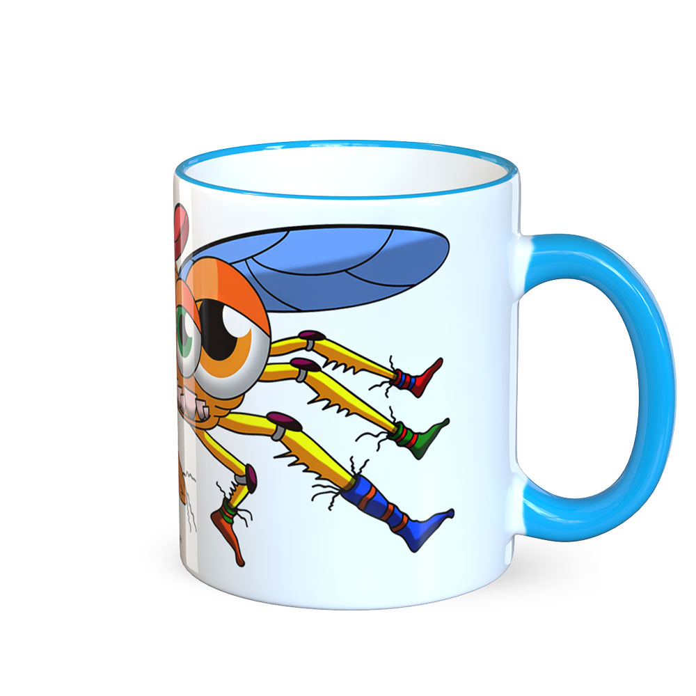 berlin-monster-art tasse büro arbeit kaffeetasse tassen bedruckte monster-tasse mit witzigem motiv fliege super-fly