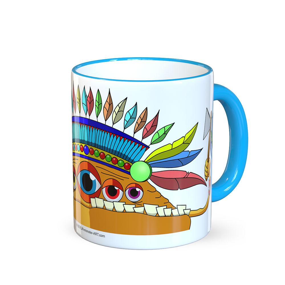 berlin-monster-art tasse büro arbeit kaffeetasse tassen schenken bedruckte monster-tasse mit witzigem motiv indianer kinder