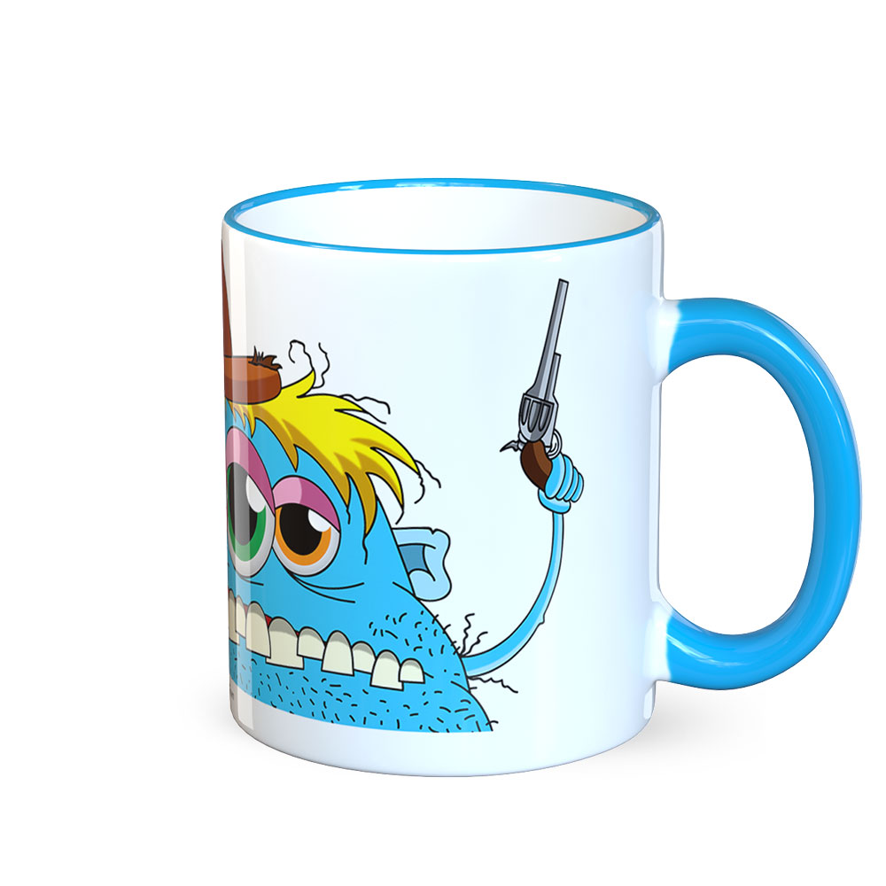 berlin-monster-art tasse büro arbeit kaffeetasse tassen schenken bedruckte monster-tasse mit witzigem motiv joe cowboy