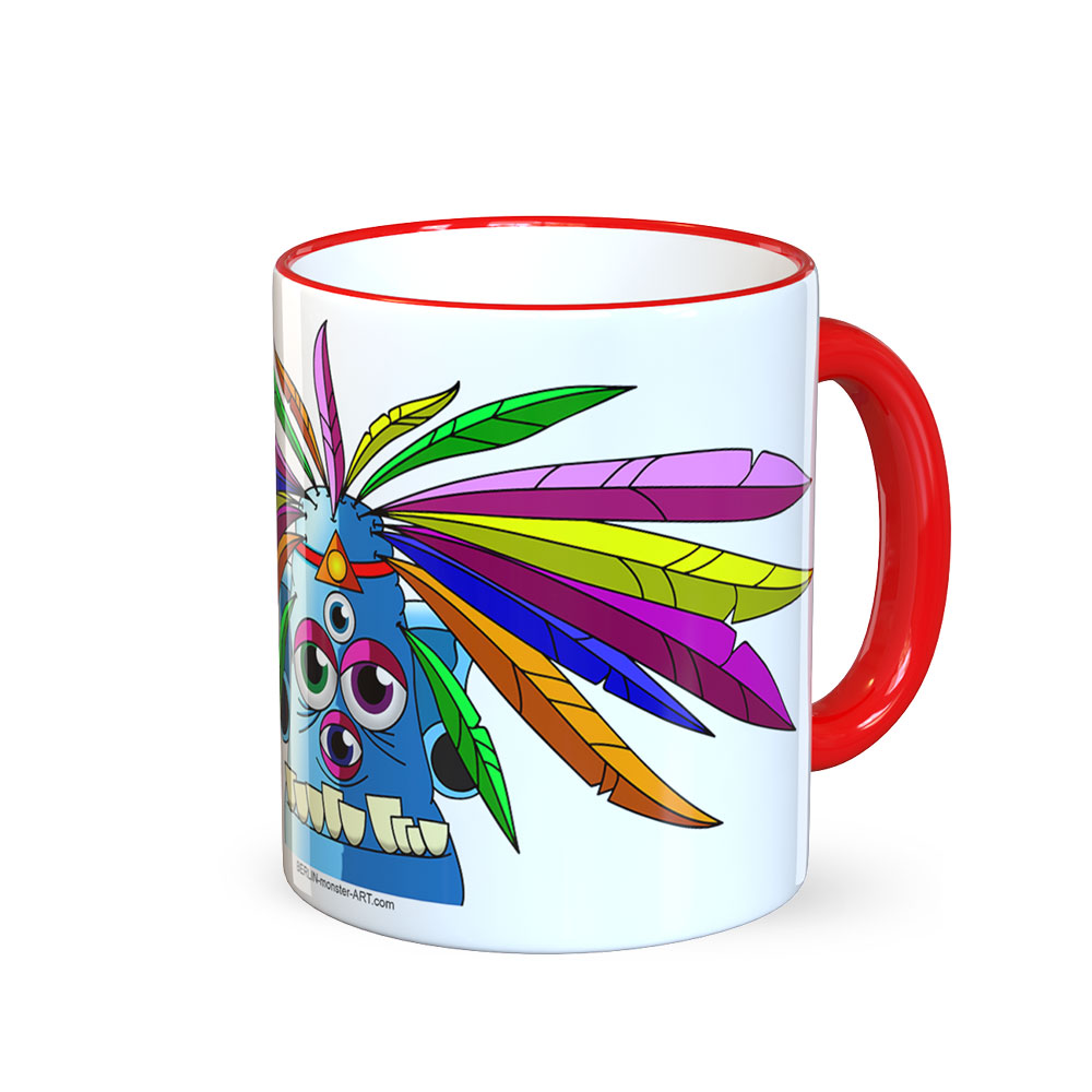 berlin-monster-art tasse büro arbeit kaffeetasse tassen schenken bedruckte monster-tasse mit witzigem motiv manolo feder-kopf