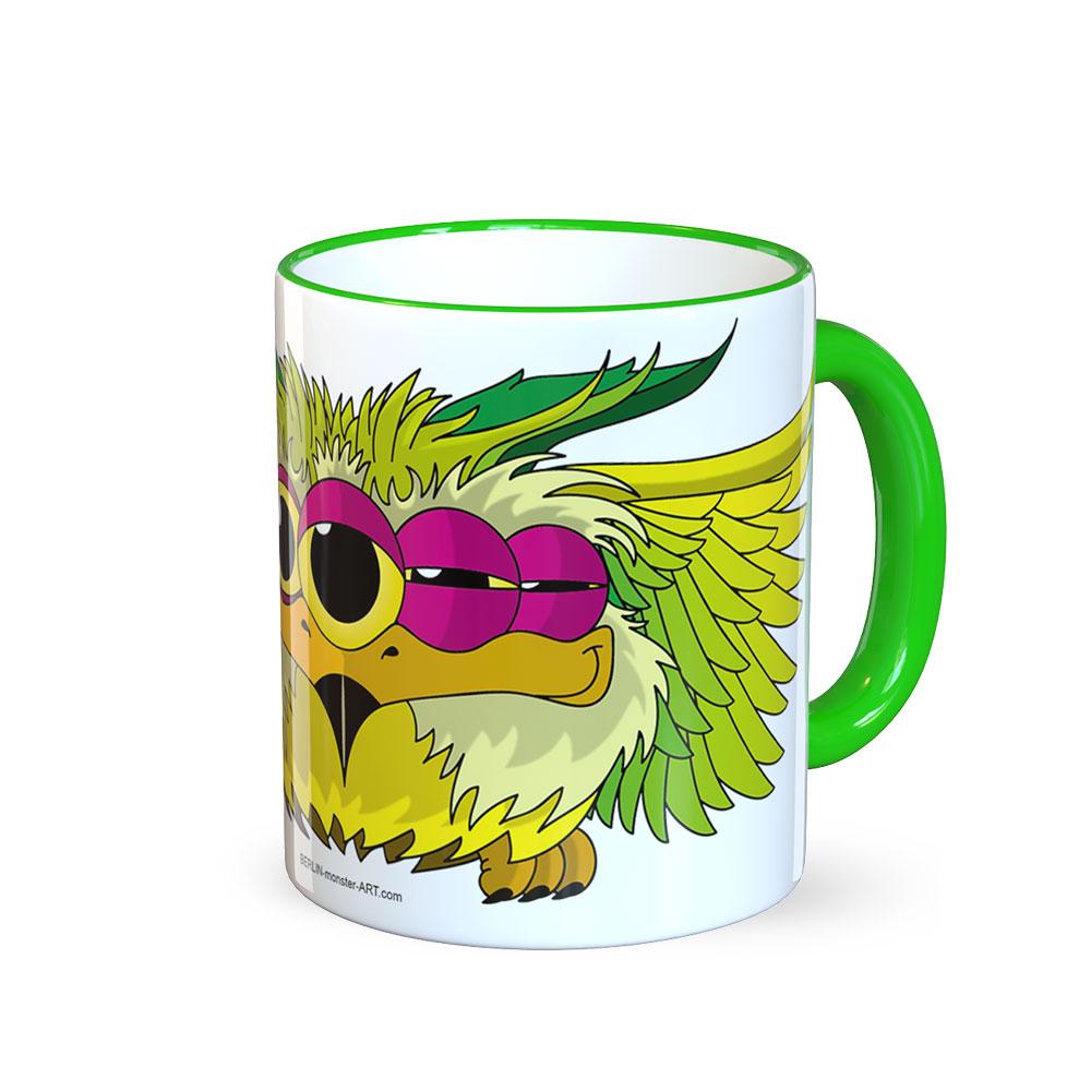 Geschenkideen Kaffeetassen Kaffeetasse Tasse für Tee Kaffee Tassen mit lustigen Motiven grüne Tasse green trinken Owlen Nacht EuleMonster Berlin Monster Art BERLIN-monster-ART
