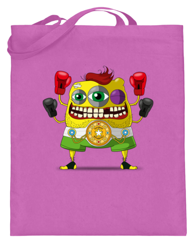 jute-beutel berlin-monster-art bedruckte tasche-n einkaufen geburtstag verschenken geschenkidee monster streetart ron kickboxen champion boxen sport