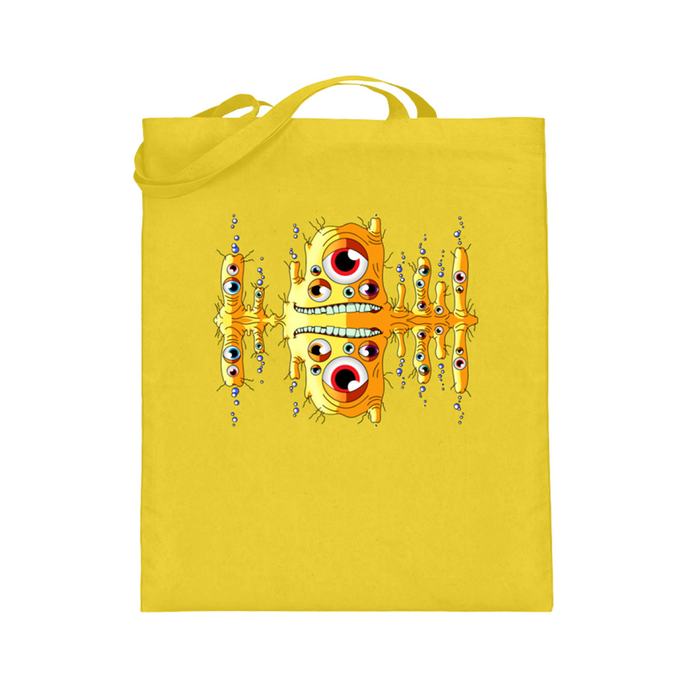 jute-beutel berlin-monster-art bedruckte tasche-n einkaufen geburtstag verschenken geschenkidee monster streetart blubbah bubb gelb zahn schief