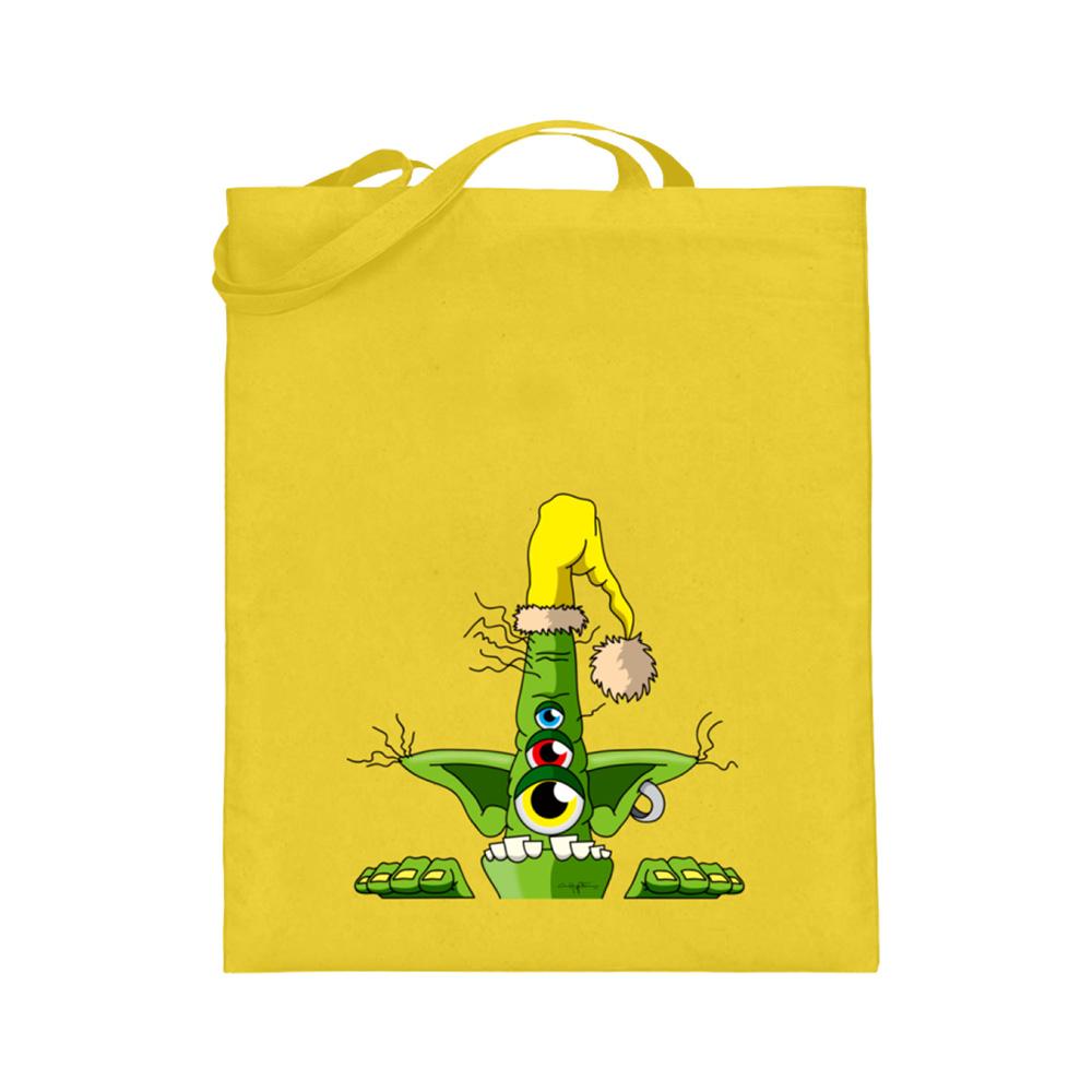 jute-beutel berlin-monster-art bedruckte tasche-n einkaufen geburtstag verschenken geschenkidee monster streetart green auge augen mütze bunt