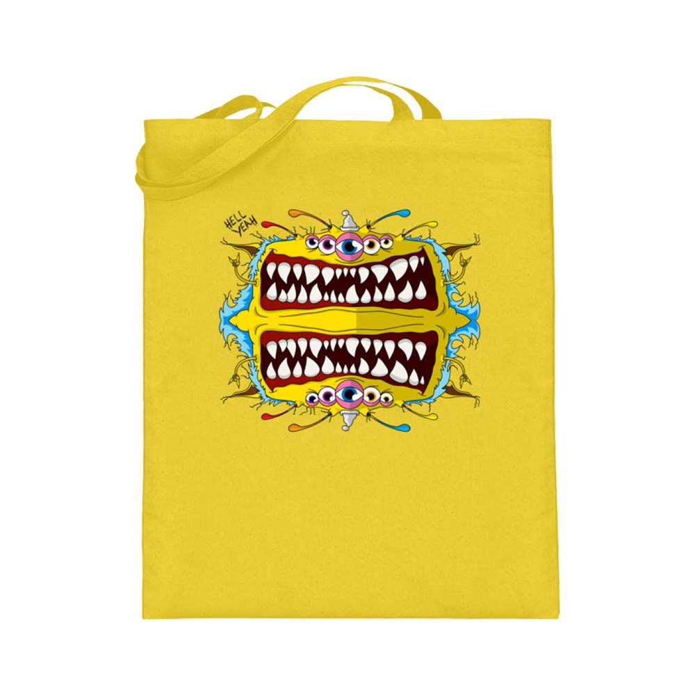 jute-beutel berlin-monster-art bedruckte tasche-n einkaufen geburtstag verschenken geschenkidee monster streetart heinz monster bissig zahn hell yeah