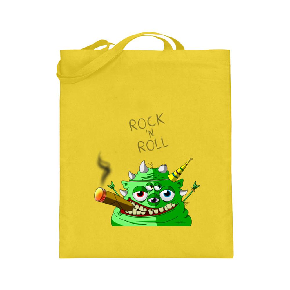 jute-beutel berlin-monster-art bedruckte tasche-n einkaufen geburtstag verschenken geschenkidee monster streetart rock n roll zigarre hut party grün