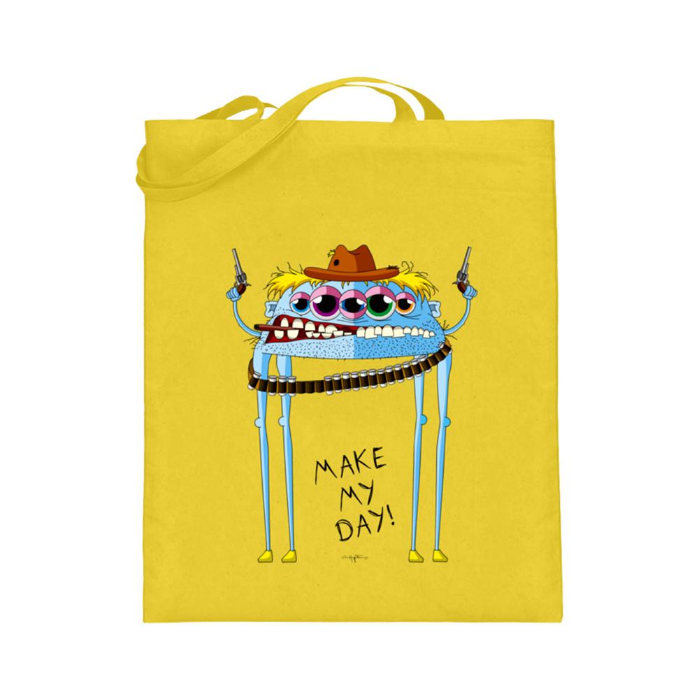 jute-beutel berlin-monster-art bedruckte tasche-n einkaufen geburtstag verschenken geschenkidee monster streetart joe cowboy make my day pistole pistolen