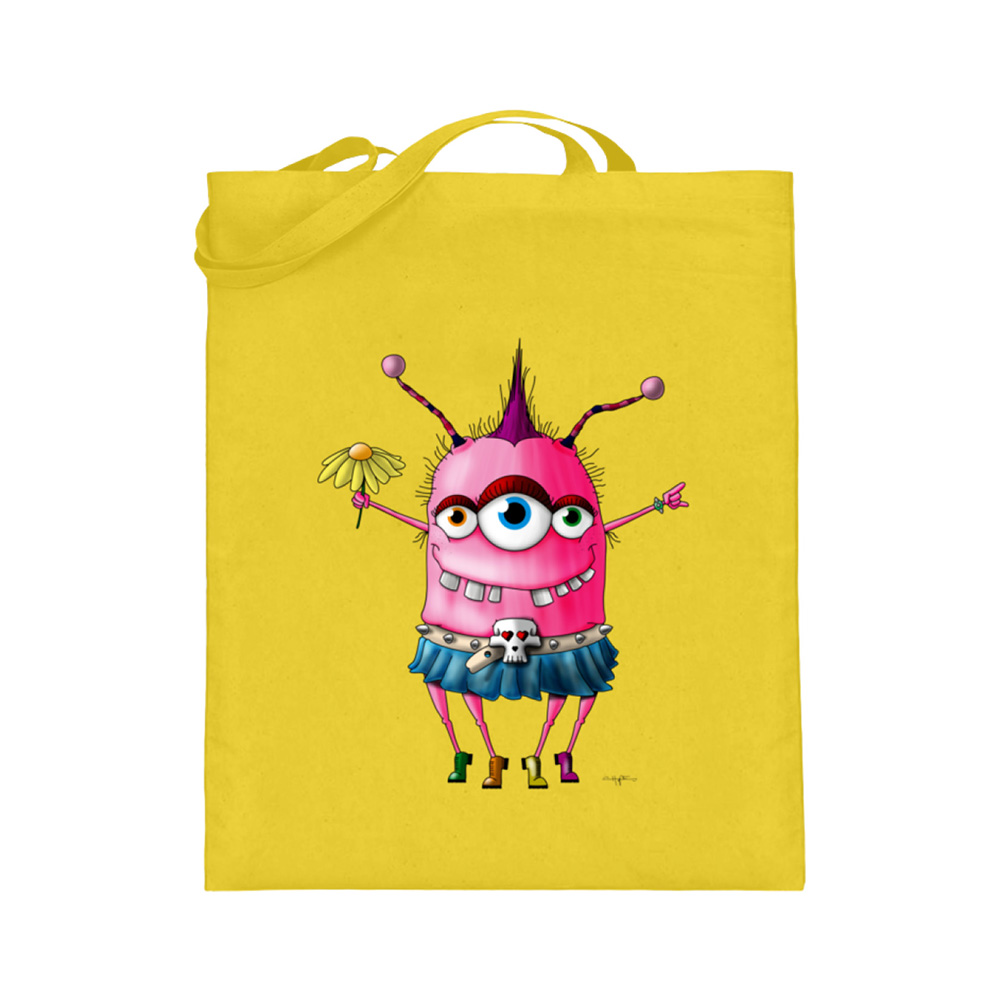 jute-beutel berlin-monster-art bedruckte tasche-n einkaufen geburtstag verschenken geschenkidee monster streetart linderella monster pink grunge queen