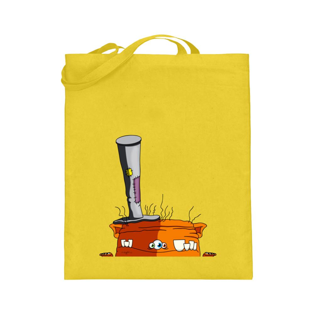 jute-beutel berlin-monster-art bedruckte tasche-n einkaufen geburtstag verschenken geschenkidee monster streetart orange hut