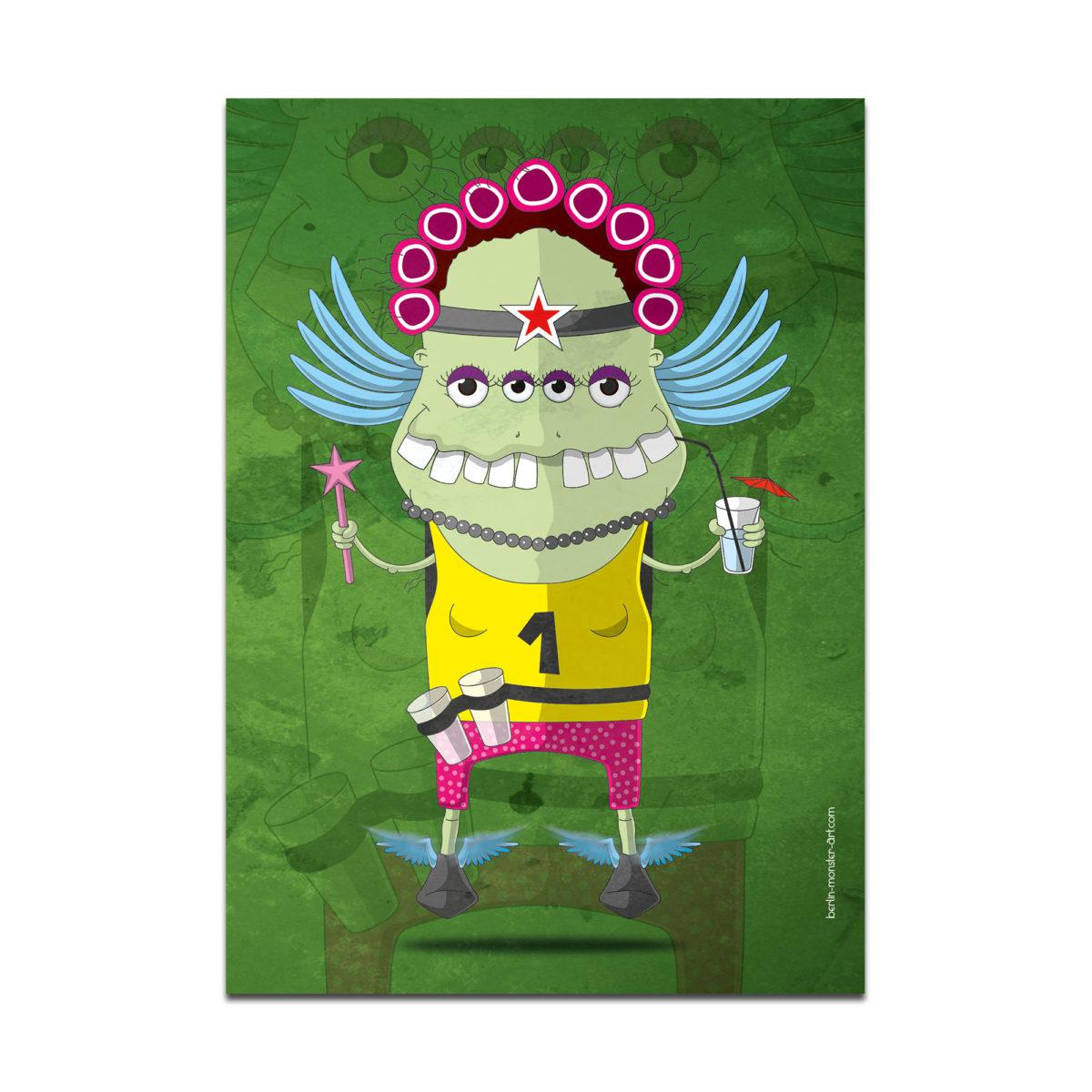 coole bedruckte monster postkarten postkarte verschenken verschicken briefkasten brief schicken liebe grüße gruß berlin-monster-art