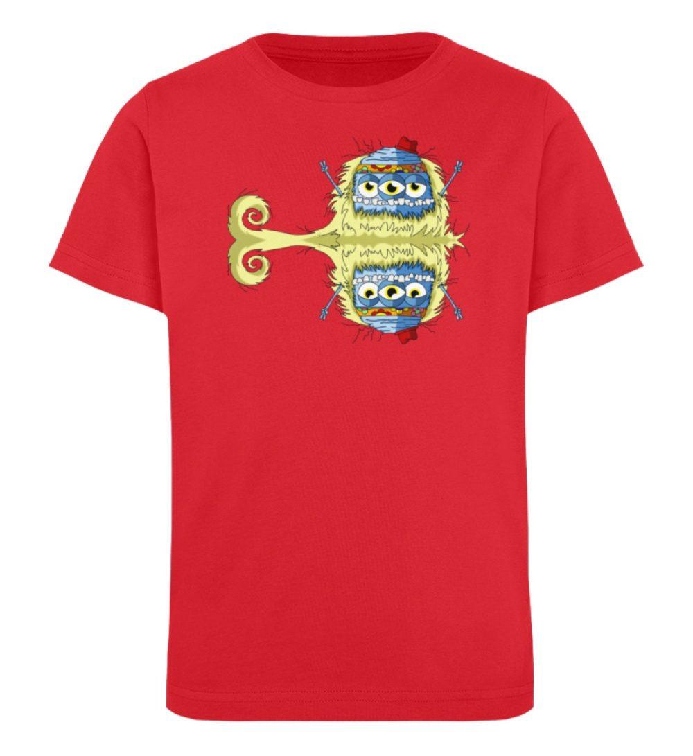 berlin-monster-art-shirt-kids-edward - Kinder Organic T-Shirt premium-druck langlebiger print lustiges monster rot red