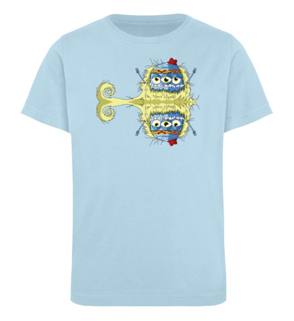 berlin-monster-art-shirt-kids-edward - Kinder Organic T-Shirt premium-druck langlebiger print lustiges monster hellblau blau