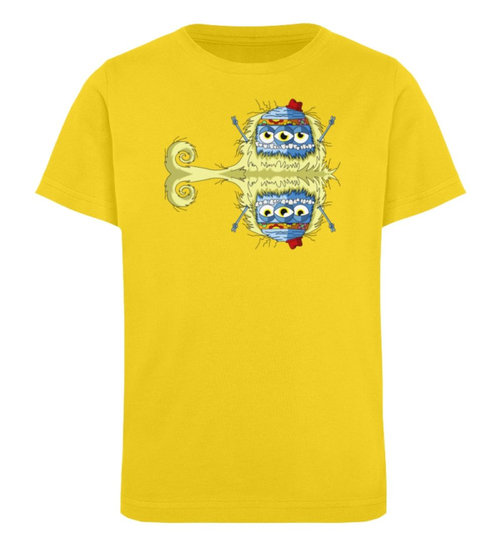 berlin-monster-art-shirt-kids-edward - Kinder Organic T-Shirt premium-druck langlebiger print lustiges monster gelb