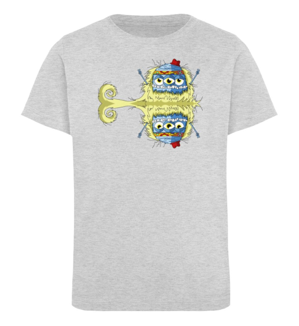 berlin-monster-art-shirt-kids-edward - Kinder Organic T-Shirt premium-druck langlebiger print lustiges monster grau grey gray