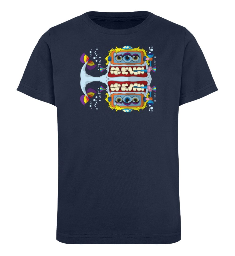 berlin-monster-art-shirt-kids-fishy - Kinder Organic T-Shirt high quality print hochwertiger druck verschenken geburtstag schule schwarz dark black dunkel