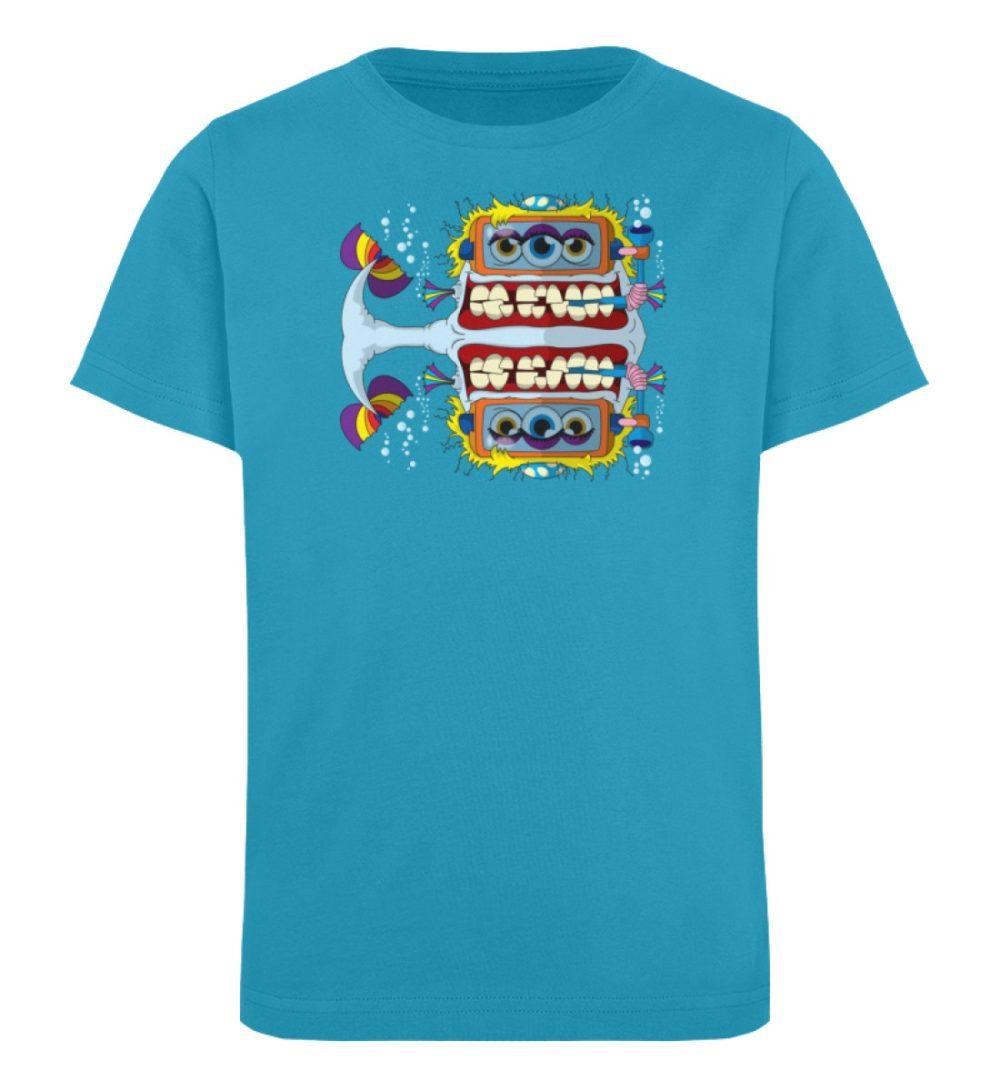 berlin-monster-art-shirt-kids-fishy - Kinder Organic T-Shirt high quality print hochwertiger druck verschenken geburtstag schule blue blau