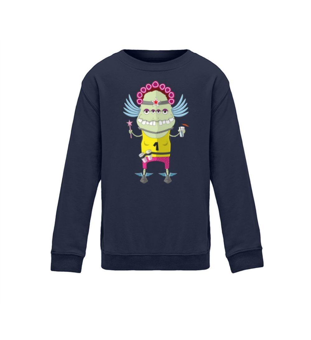 berlin-monster-art kids-sweatshirt-longsleeve-muddy - Kinder Sweatshirt muddy motiv monstermotiv bedruckte monster zum verschenken navy blue blau