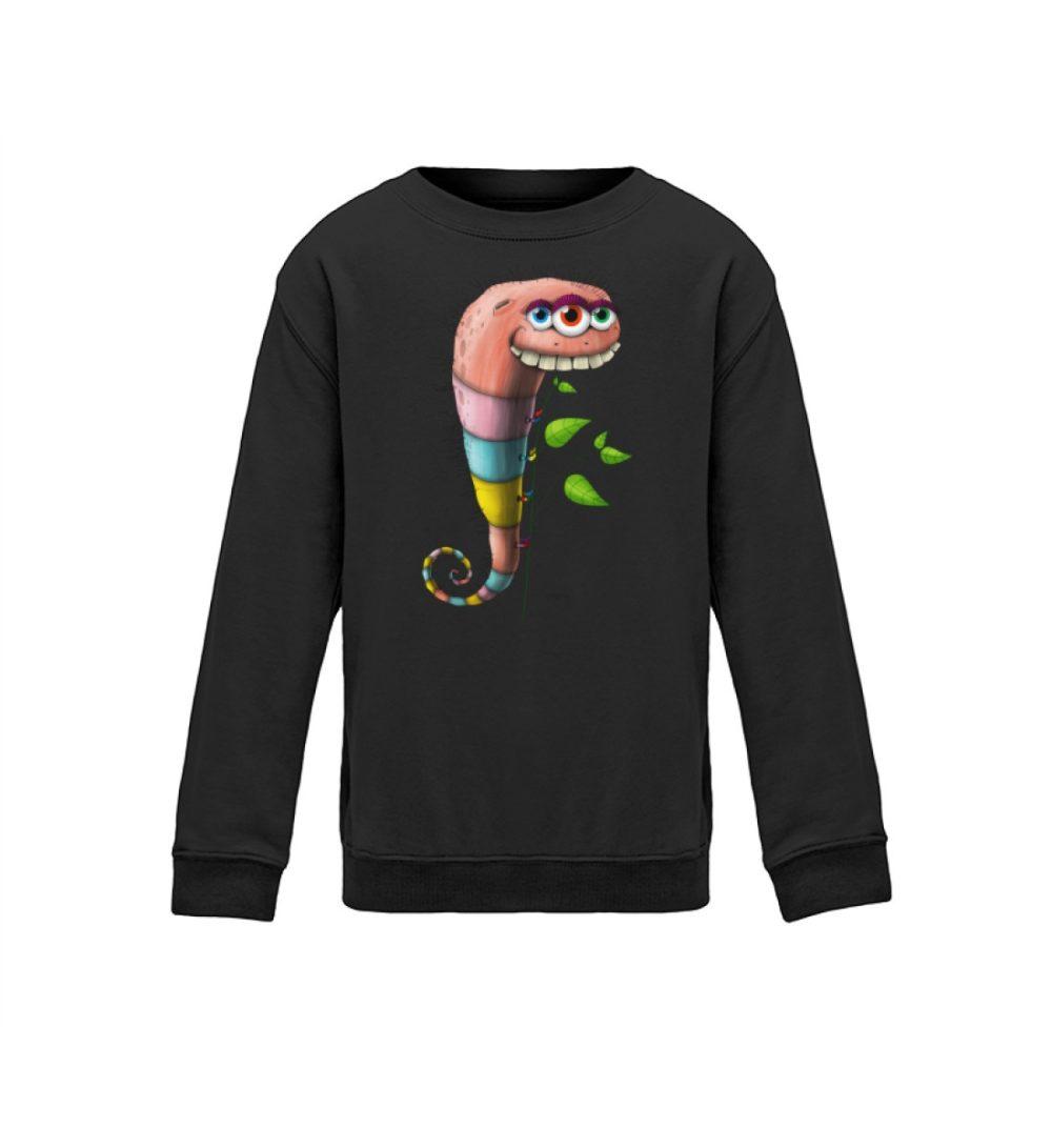kids-sweatshirt-longsleeve-wurmi - kinder shirt mit coolem druck lustiges motiv zum geburtstag weihnachten verschenken dark black schwrarz