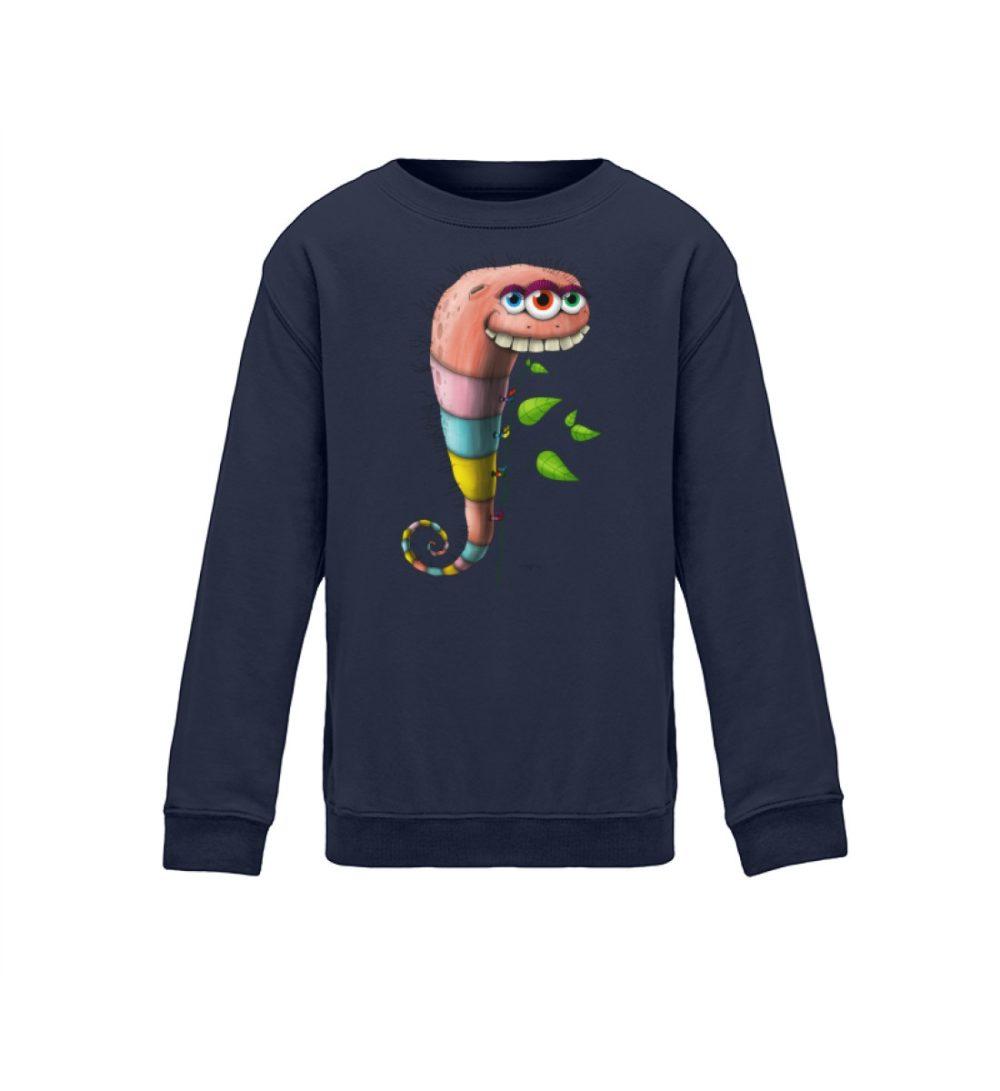 kids-sweatshirt-longsleeve-wurmi - kinder shirt mit coolem druck lustiges motiv zum geburtstag weihnachten verschenken navy blue blau