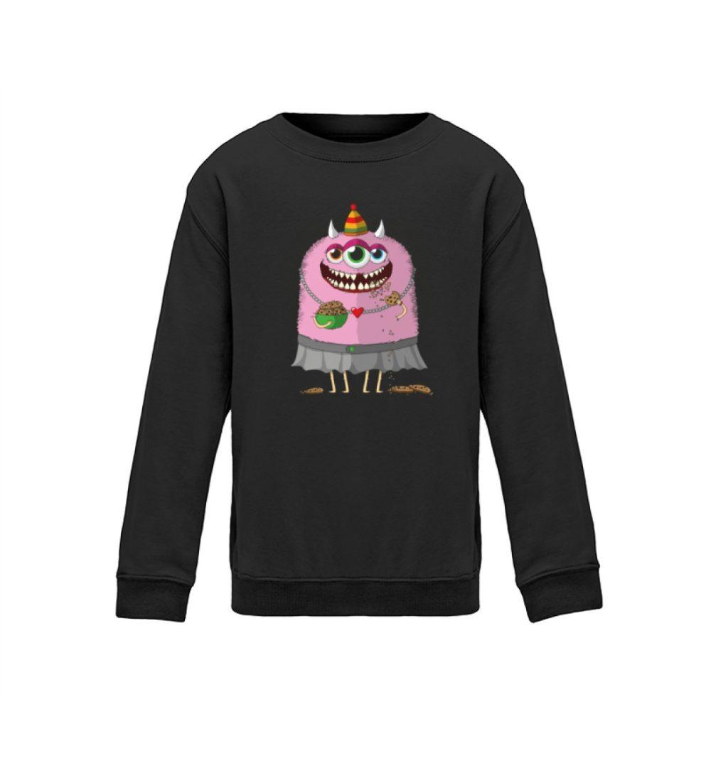 berlin-monster-art.com kids-sweatshirt-longsleeve-helgard - Kinder Sweatshirt süßes monster-shirt monstermotiv premium-druck handmade black dark dunkel schwarz