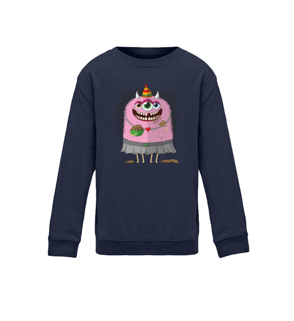 berlin-monster-art.com kids-sweatshirt-longsleeve-helgard - Kinder Sweatshirt süßes monster-shirt monstermotiv premium-druck handmade dunkelblau