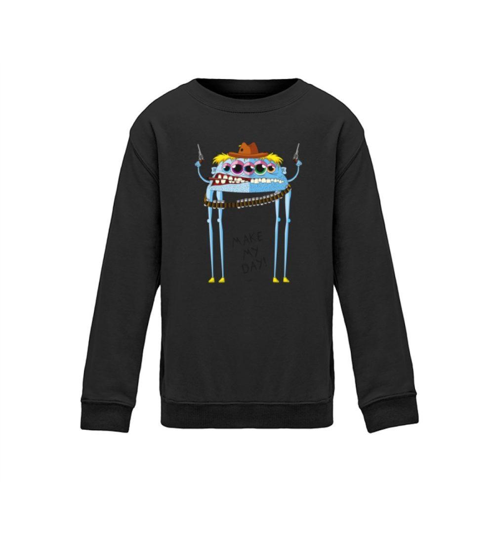berlin-mosnter-art kids-sweatshirt-longsleeve-joe - Kinder Sweatshirt cowboy motiv joe comic schule sport witzes motiv lustiges monster bedruckt premium dark black schwarz dunkel