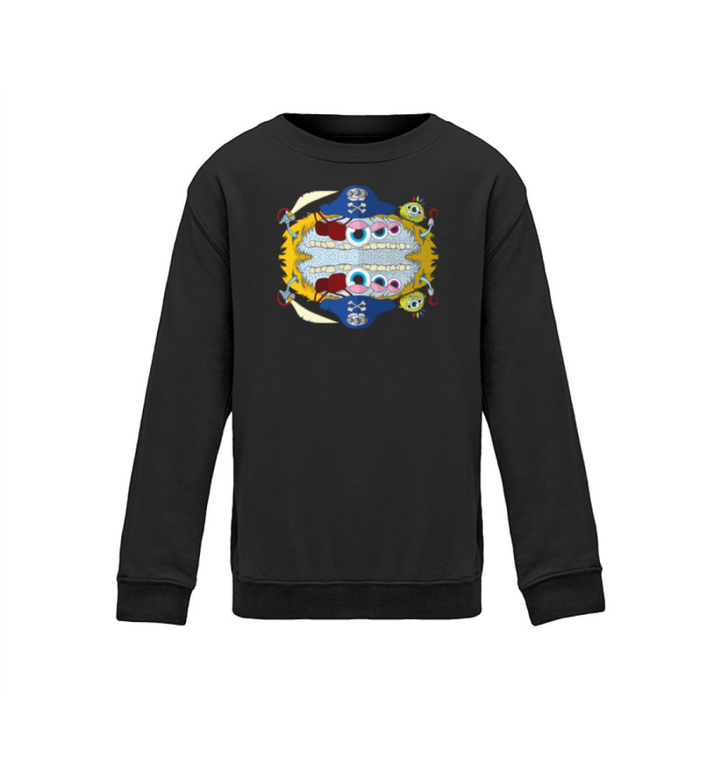 kids-sweatshirt-longsleeve-pirato - Kinder Sweatshirt pullover geschenkidee kalte tage berlin-monster-art verschenken kaufen bedrucktes shirt dark schwarz dunkel